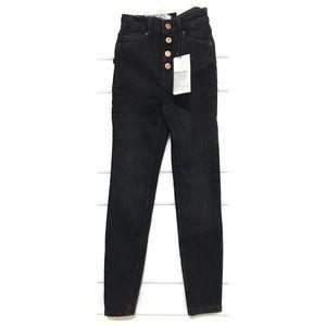 BERSHKA Skinny High Rise Black Denim Jeans